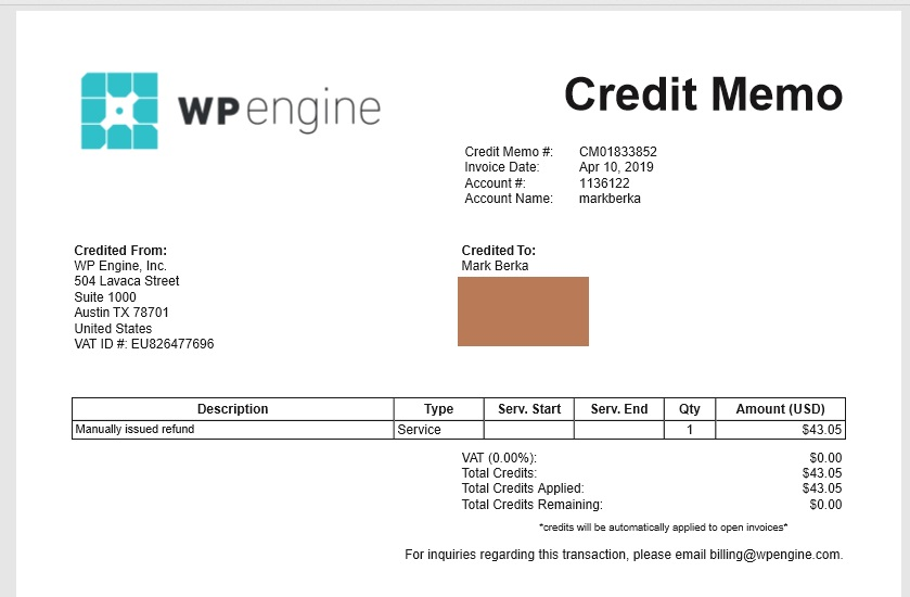 WP Engine Coupon Entry 2020