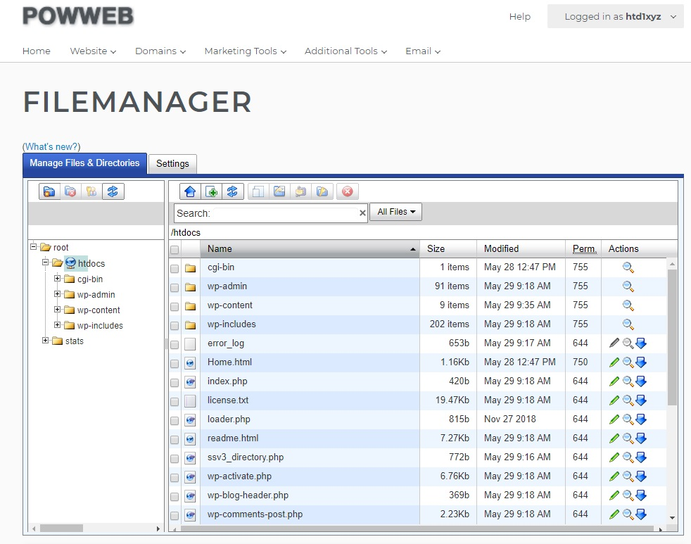 Powweb shared hosting file manager