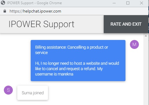 IPower Live Chat cancel request