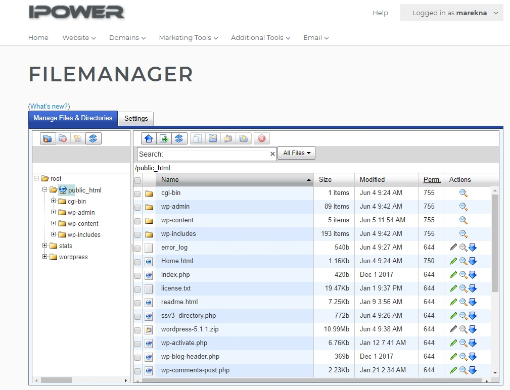 IPower File Manager interface