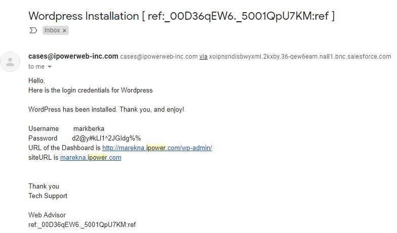 Manual wordpress installation confirmation