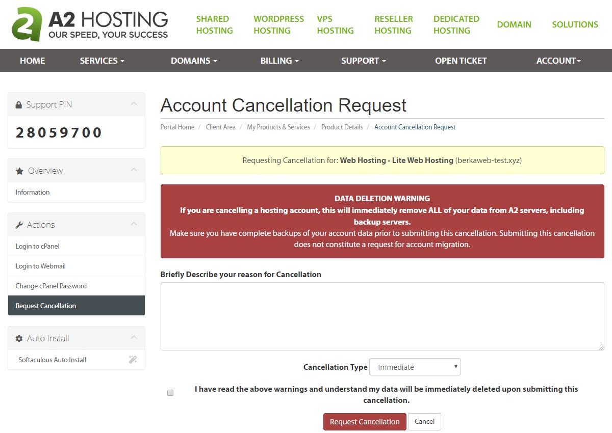 A2 Hosting Cancellation Form