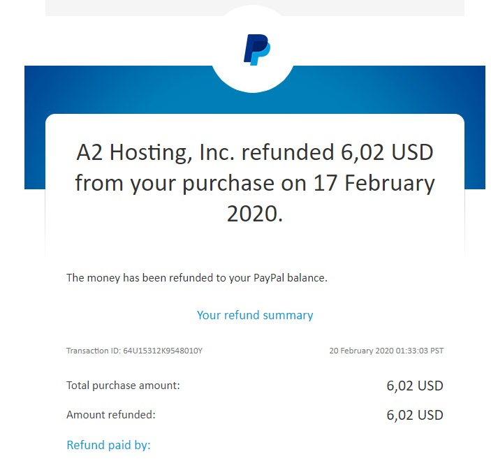 A2 Shared Hosting - Refund Confirmation