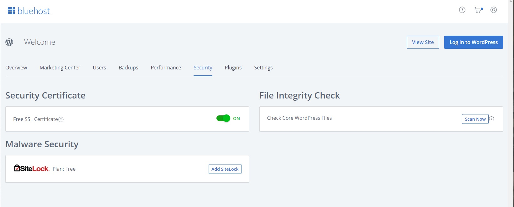 Bluehost shared hosting - interface - security tab