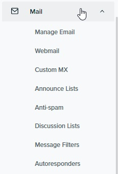 DreamHost shared hosting - Email menu