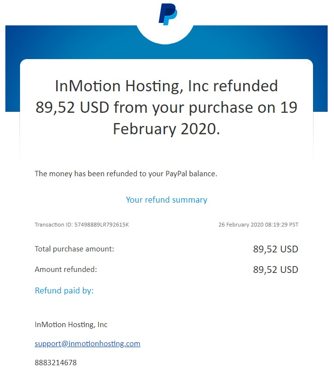 InMotion shared hosting - PayPal refund confirmation