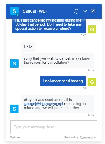 Interserver shared hosting - cancellation chat