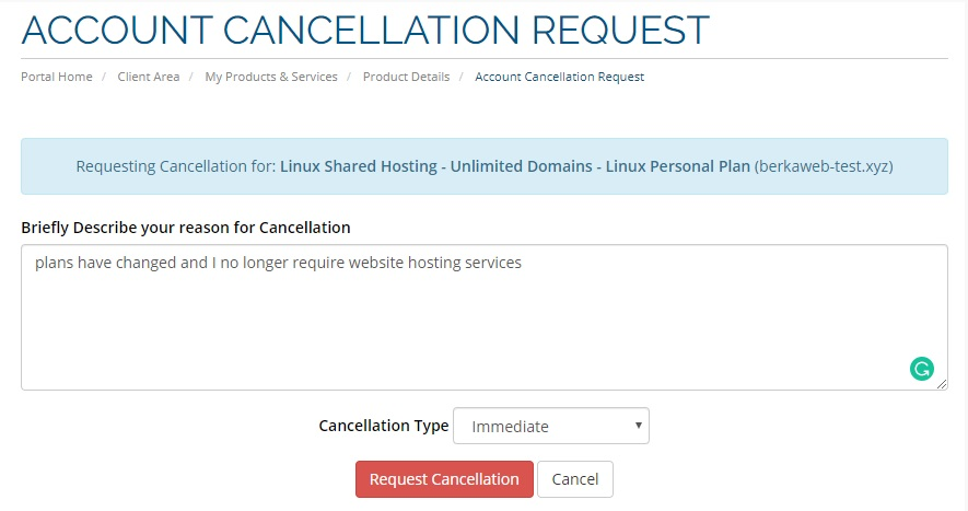 AccuWeb shared hosting - cancellation request form