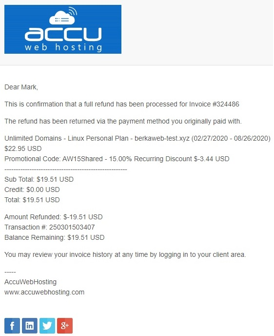 AccuWeb shared hosting - refund confirmation email