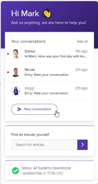 Hostinger Shared - Live Chat Window